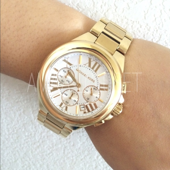 Michael Kors Camille gold tone chronograph watch 6342007f464f6