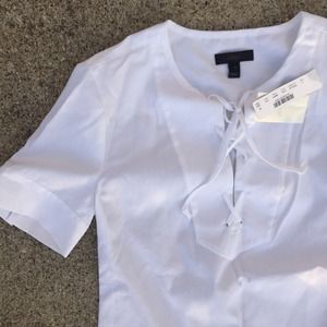 J. Crew Tops - Lace up sateen tee