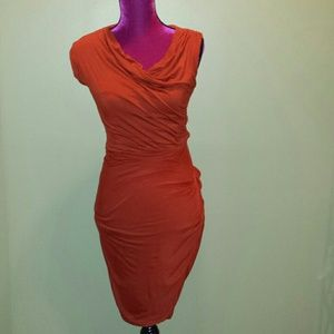 Anthropologie asymmetrical orange dress