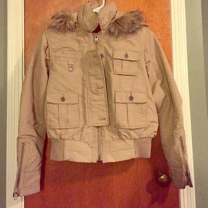 Fur hood juniors bomber jacket zip up zip sleeve L