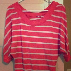 Coral and white striped sweater