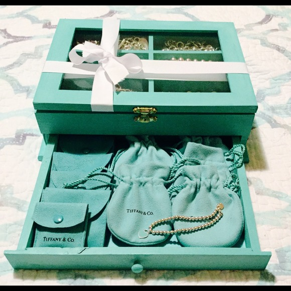 tiffany co hand crafted wooden jewelry box for