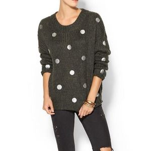 JOA Charcoal Grey Sweater with Silver Polka Dots