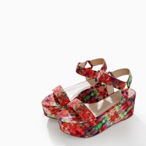 Zara Colorful Printed Ankle Strap Platform Wedges