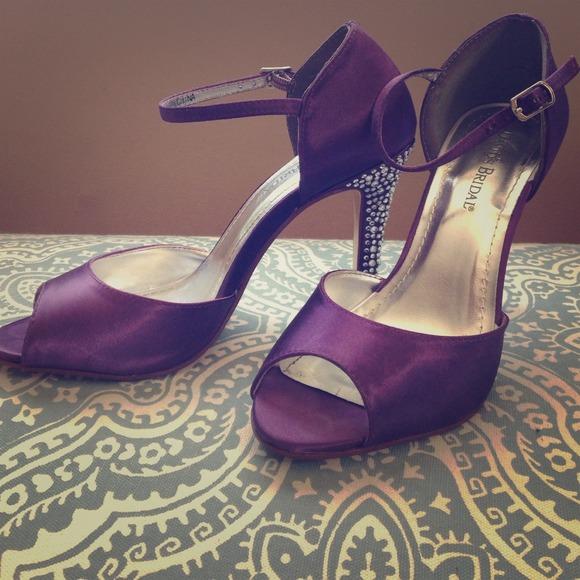 David s Bridal Shoes - David s Bridal Giuliana Plum heels w  rhinestones e0b15c94c0