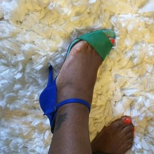 Zara collection color block sandals size 8