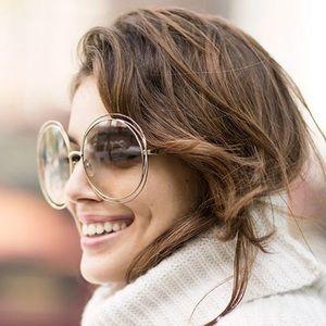 90f4b953204c Chloe Accessories - Chloe Carlina Round Wire Metal Sunglasses Gold Lav