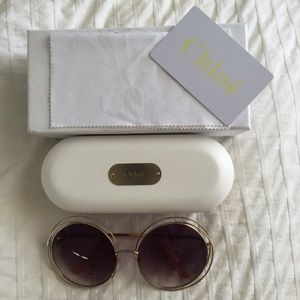 1024eebfed Chloe Accessories - Chloe Carlina Round Wire Metal Sunglasses Gold Lav