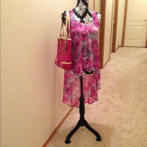 Kandy kiss hi-lo pink floral shirt