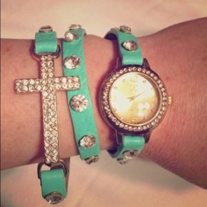 Mint cross wrap around rhinestone watch