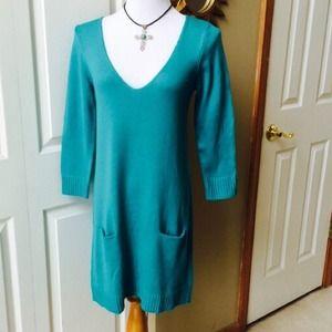 Turquoise Sweater Dress