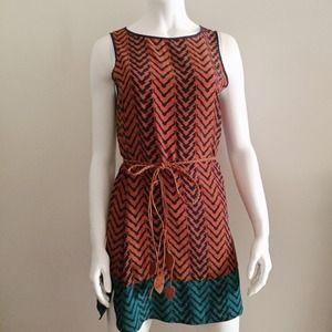 Dresses & Skirts - Aztec Burnt Orange Shift Dress with Leaf Belt