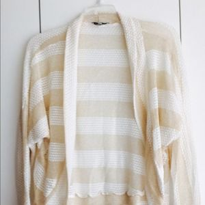 Gold and white shimmery crochet batwing cardigan