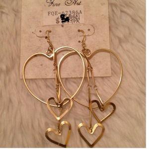 Fine Art Jewelry - NWT-Gold Heart Earrings