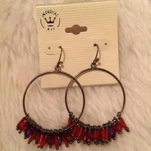 NWT-Hoop Earrings w/Red Beads
