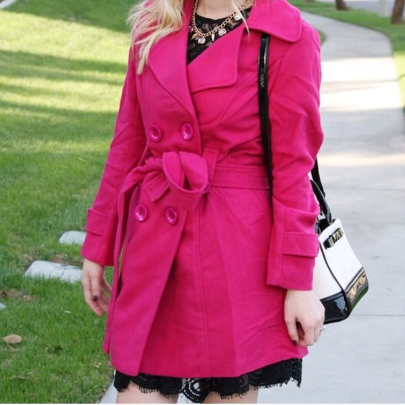 63% off Jackets & Blazers - Pink wool trench coat wool buttons hot ...