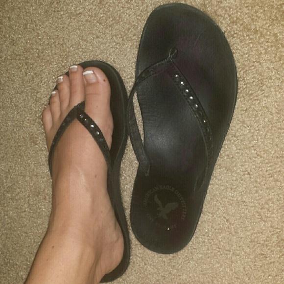 5d4c2969590b American Eagle Outfitters Shoes - Black rhinestone flip flops