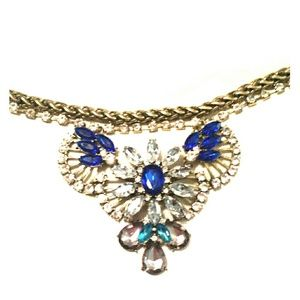 Gold Necklace with large rhinestones