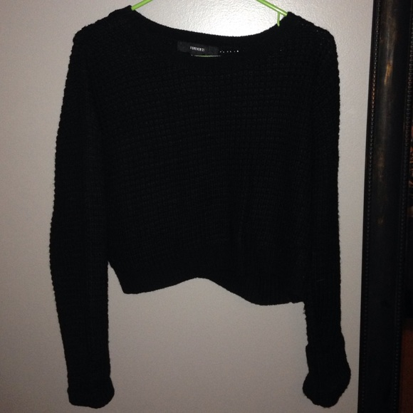 48% off Forever 21 Sweaters - Crop forever 21 black sweater from ...