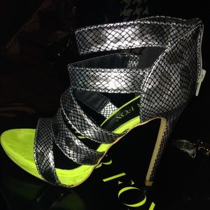 Paper Fox Shoes - Silver & Lime Green Heels (Brand New)