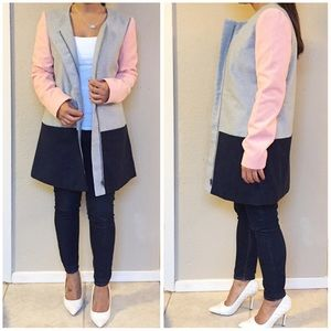 New Pink/Gray ColorBlock Coat