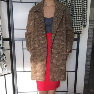 Wool Blend Tweed double breasted Coat sz 42