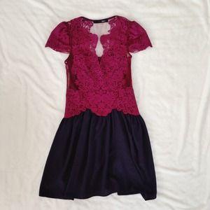 Dresses - Romantic Magenta & Navy Lace Dress