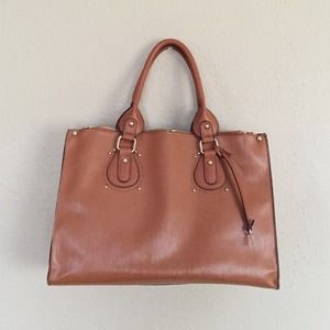 Handbags - Camel Brown Faux Leather Tote Handbag
