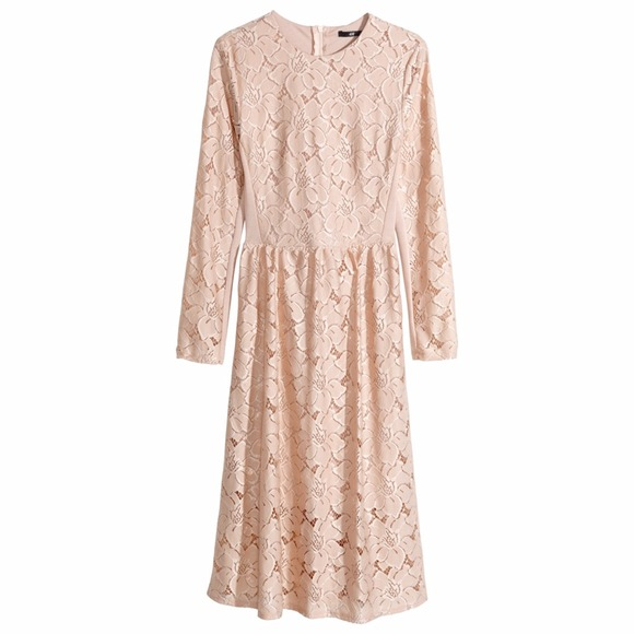H M Dresses Beautiful Blushbeige Lace Midi Dress Poshmark