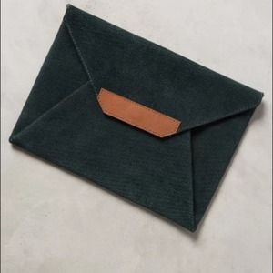 NWT Anthropologie leather suede green clutch $78
