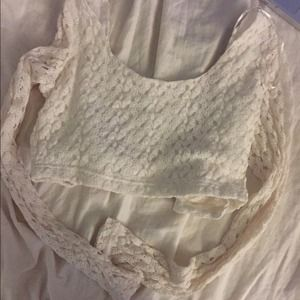 Cream crop long sleeved