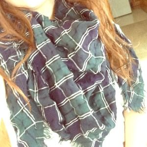 Forever 21 navy blue and forest green plaid scarf