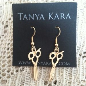 Tiny Gold Shear Earrings