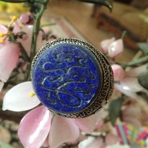 Jewelry - Antique engraved lapis ring
