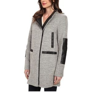 Vince Camuto Outerwear - VINCE CAMUTO Leather Detail Coat