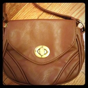 Brown faux leather cross body bag.