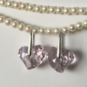 Authentic Swarovski Pink Heart Earrings