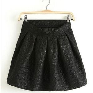 Jolly Chic  Dresses & Skirts - Black Embossed and Pleated Skirt