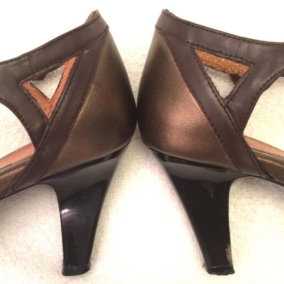 Sofft Shoes - Sofft Bronze Peeptoe Ankle Strap Heels