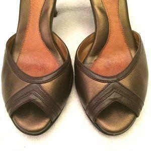 Sofft Shoes - ❌ Sofft Bronze Peeptoe Ankle Strap Heels