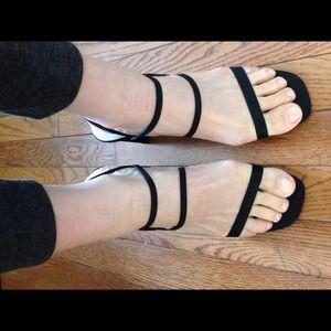 Sexy black strappy heels