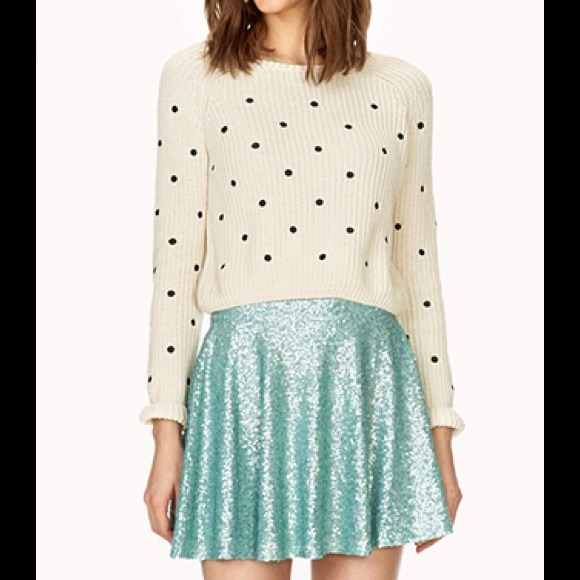 Mint Green Seafoam Sequin Mini Skater Skirt
