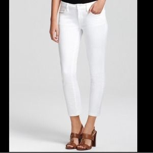 Tory Burch White Cropped Skinny Jeans Size 25