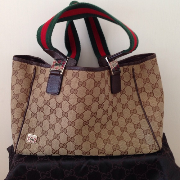 61% off Gucci Handbags - Gucci Signature Logo Brown/Tan Shopper ...