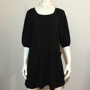 Dresses & Skirts - White Collared Black Dress w/ Pockets & Bat Wings