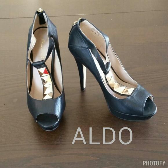 40 aldo shoes aldo black and gold studded platforms