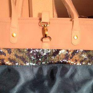 Handbags - Aqua sequence tote bag