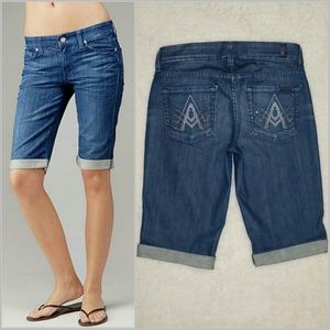 "7 for all Mankind Denim - Flaming ""A"" Pocket Crop & Roll Crystal Shorts"