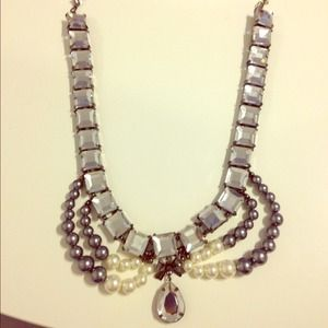 Silver and pearl bib necklace