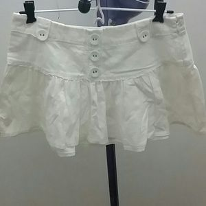 Linen and cotton white skirt with buttons